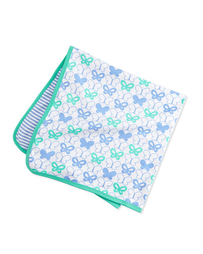 Reversible Butterfly-Print Baby Blanket, Blue