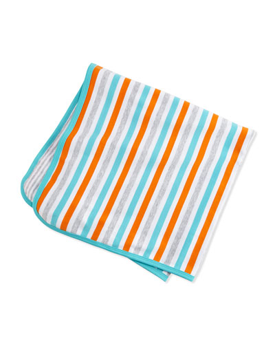 Reversible Striped Baby Blanket, Orange/White