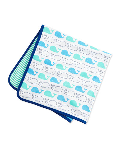 Reversible Whale-Print Baby Blanket, White/Blue