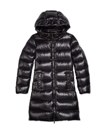 Suyen Hooded Down Coat, Black, Size 8-14