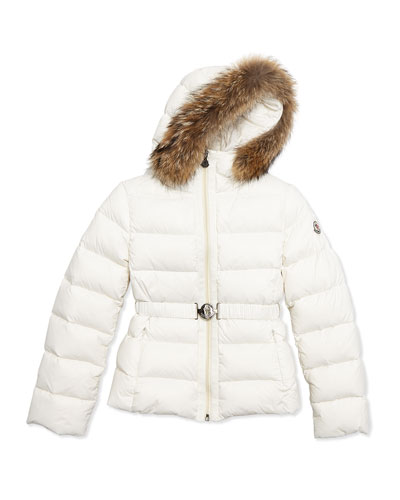 Angers Fur-Trim Quilted Down Coat, Cream, Size 8-14