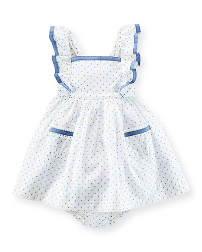 Sleeveless Polka-Dot Cotton Batiste Dress & Bloomers, White/Blue, Size 6-24 Months