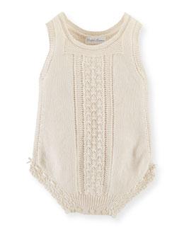 Sleeveless Knit Cotton Playsuit, Summer Cream, Size 3-9 Months