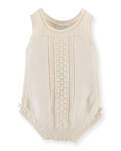 Sleeveless Knit Cotton Playsuit, Summer Cream, Size 3-9 Months
