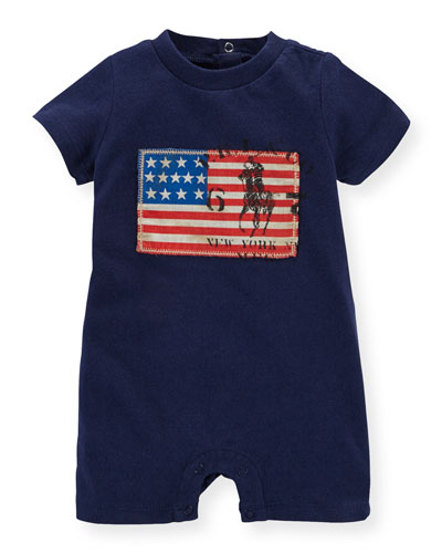 Americana Cotton Jersey Shortall, French Navy, Size 3-18 Months