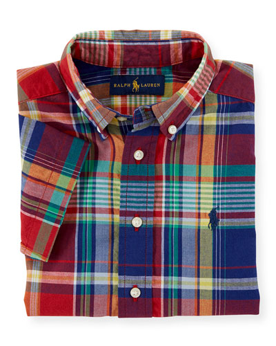 Short-Sleeve Madras Blake Shirt, Red, Size 2-7