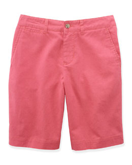 Linen-Blend Roundhill Shorts, Nantucket Red, Size 2-7