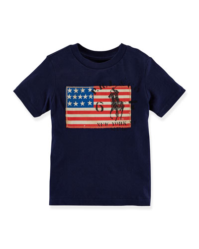 Short-Sleeve Jersey Tee w/ Flag, French Navy, Size 2-7