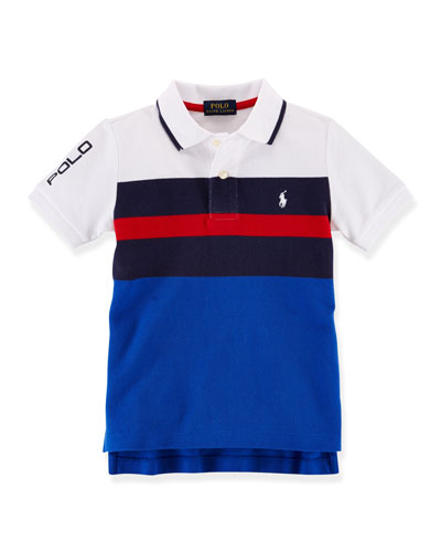 Short-Sleeve Striped Mesh-Knit Polo, French Navy, Size 2-7