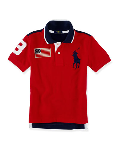 Short-Sleeve Mesh-Knit Polo w/ Patches, Red, Size 2-7