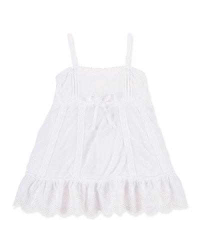 Lace-Trim Jersey-Knit Tank, White, Size 2T-6X