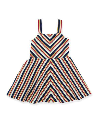 Striped A-Line Jersey Dress, Beige/Multicolor, Size 2T-6X