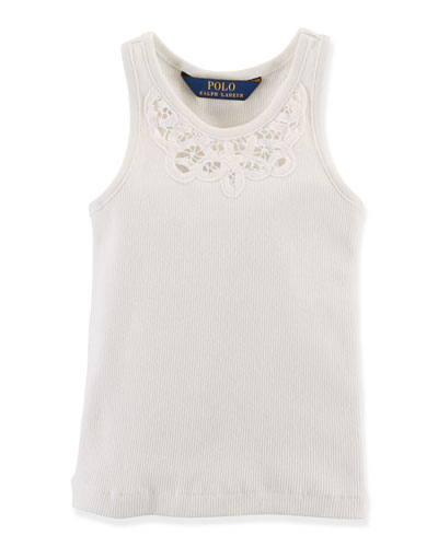 Embroidered-Neck Ribbed Tank, Antique White, Size 2T-6X