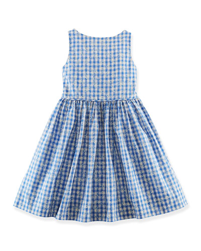 Floral Gingham Poplin Dress, Blue, Size 2T-6X