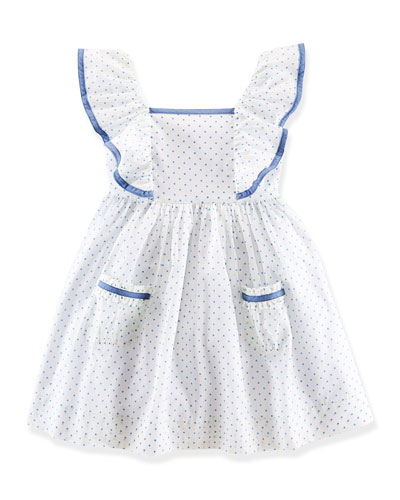 Sleeveless Polka-Dot Cotton Batiste Dress, White/Blue, Size 2T-6X