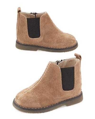 Suede Zip Boot, Brown, Toddler