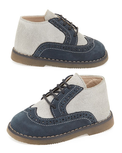 Leather Two-Tone Oxford, Gray/Blue, Toddler