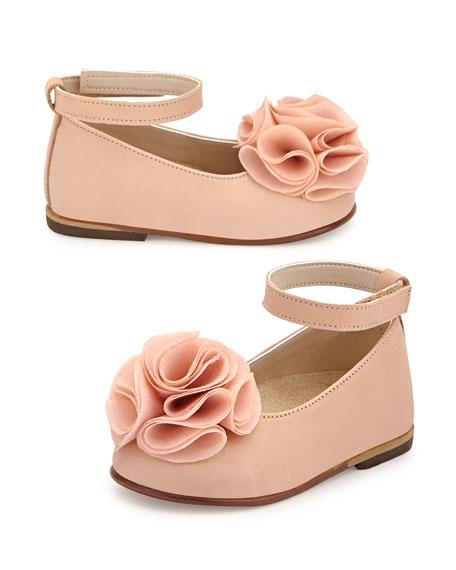 Babywalker Leather Floral-Trim Ballet Flat, Salmon, Toddler