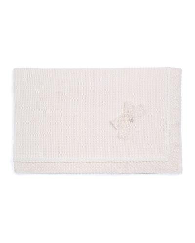 Knit Lace-Trim Blanket, Ivory