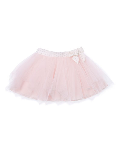 Polka-Dot-Trim Tulle Skirt, Pink, Size 2-6