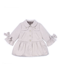 Bow-Trim Peplum Raincoat with Faux-Fur lining, Tan, Size 12M-3