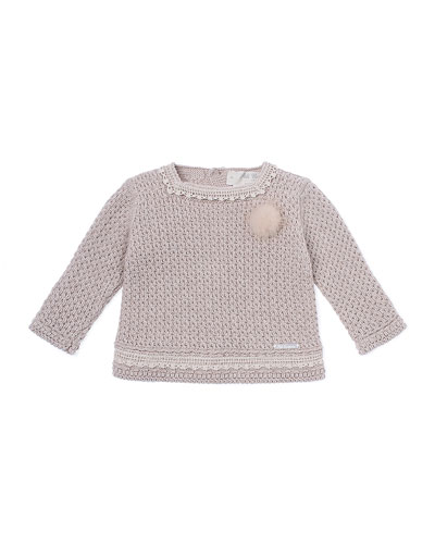 Knit Lace-Trim Pullover Sweater, Beige, Size 3-12 Months