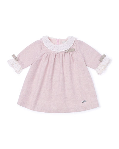 Tweed Ruffle-Trim Shift Dress, Pink, Size 12M-3
