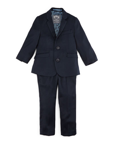Narrow-Lapel Jacket & Pants Set, Navy, Size 2T-14