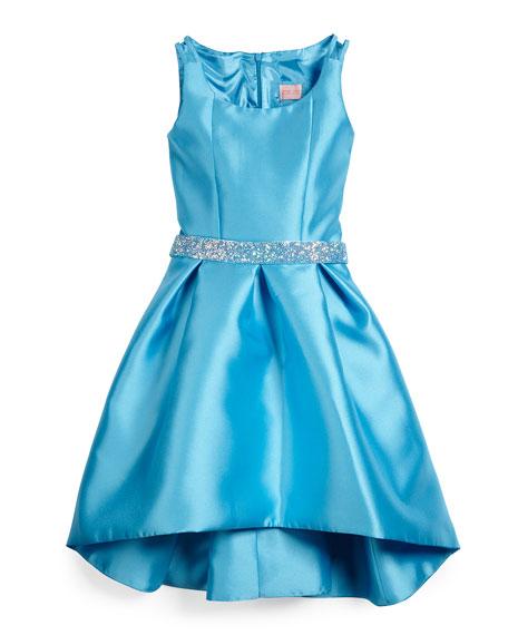 Zoe Sateen High-Low Dress w/ Rhinestone Belt, Blue,