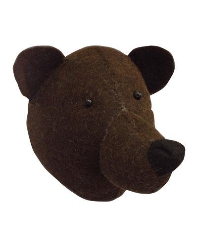 Felt Brown Bear Head Wall Mount