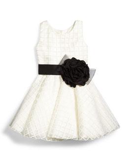 Sleeveless Windowpane Circle Dress, White, Size 7-14