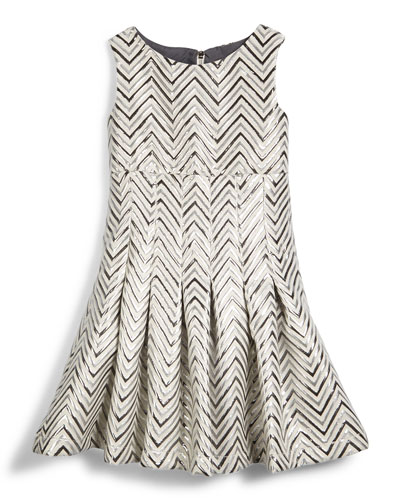 Chevron-Jacquard Fit-and-Flare Dress, Silver, Size 7-14