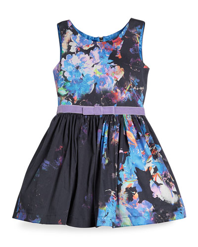 Sleeveless Floral A-Line Dress w/ Belt, Navy/Multicolor, Size 7-14