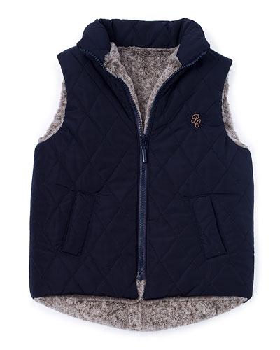 Faux-Fur Quilted Zip-Front Vest, Navy, Size 2-6