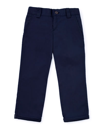 Woven Rolled-Hem Pants, Navy, Size 2-6