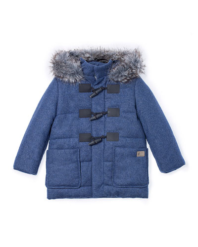Faux-Fur-Trim Hooded Duffle Coat, Blue, Size 2-6