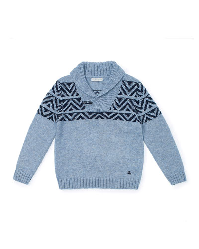 Chevron-Intarsia Pullover Sweater, Blue, Size 2-6