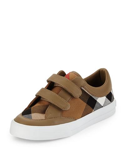 Heacham Mini Check Leather-Trim Sneaker, Mink Gray/Tan, Youth