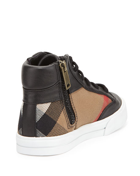 Haypark Mini Check High-Top Sneaker, Black/Tan, Toddler Sizes 7-10