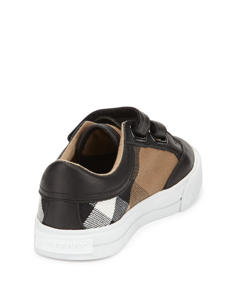 Heacham Mini Check Leather-Trim Sneakers, Black/Tan, Toddler Sizes 7-10