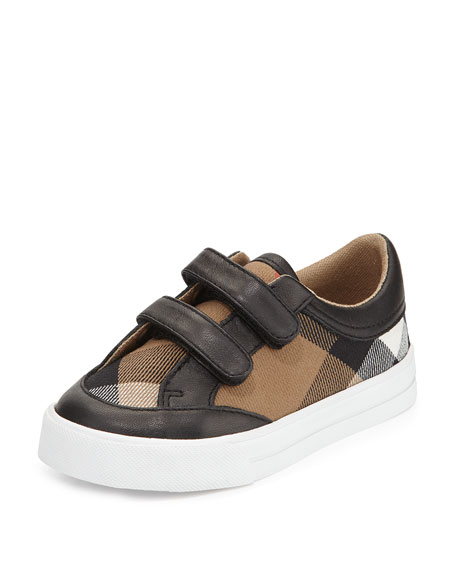 Burberry Heacham Mini Check Leather-Trim Sneaker, Black/Tan,