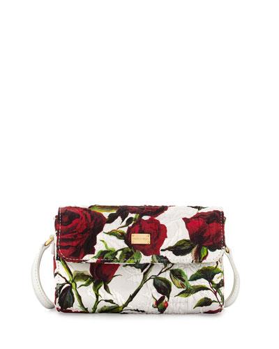 Rose-Print Shoulder Bag, White/Red