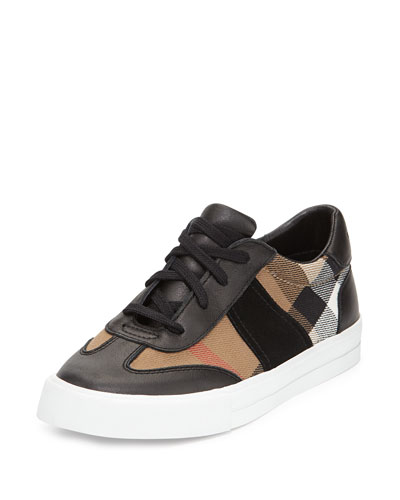 Longsley Check Low-Top Sneaker, Black/Tan, Youth
