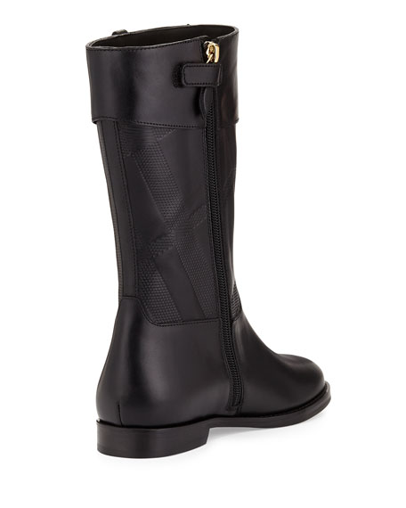 Weldmill Check-Embossed Leather Boot, Black, 13T-3Y