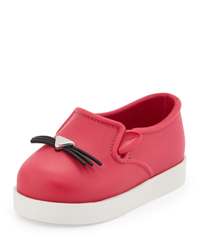 Mini Melissa Kitty-Face Slip-On Sneaker, Pink