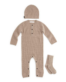 Garrett Cashmere Coverall, Hat & Socks Set, Honey Melange, Size 3-12 Months