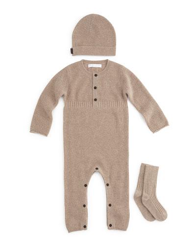 Garrett Cashmere Coverall, Hat & Socks Set, Honey Melange, Size 3-12 Months