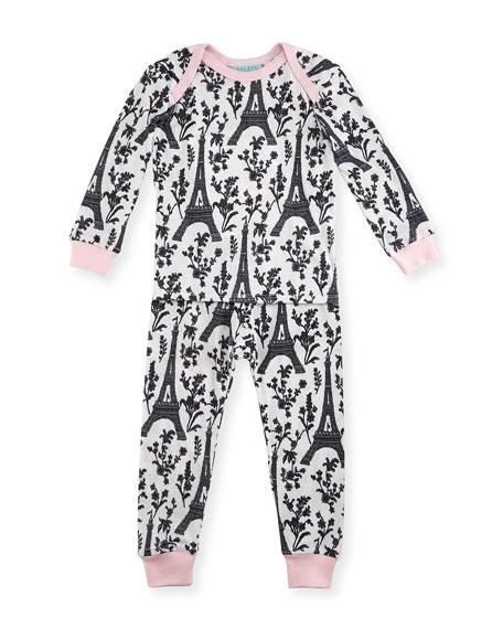 Bedhead Eiffel Tower Pajama Shirt & Pants, White/Black/Pink,