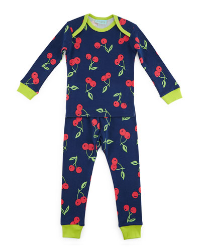 Cherry Pick Pajama Shirt & Pants, Navy, Size 2T-8