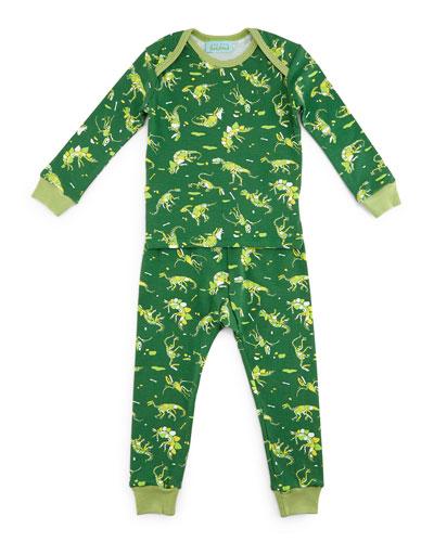 Neon Dinosaurs Pajama Shirt & Pants, Green, Size 2T-8